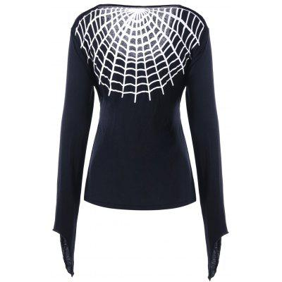 Halloween Top Bowknot Spider Web Top