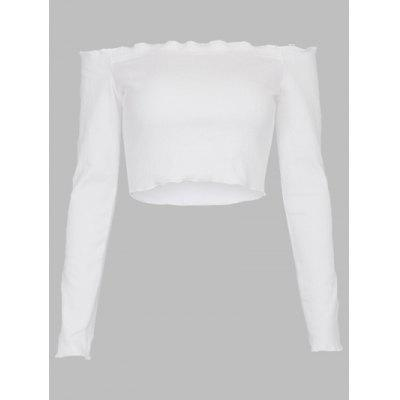 Off Shoulder Frill Trim Crop Top