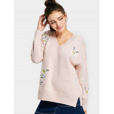 Buy BEIGE V Neck Drop Shoulder Embroidered Sweater for $30.84 in GearBest store