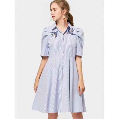 Striped Bird bordado camisa vestido