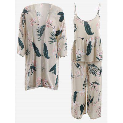 Buy LIGHT APRICOT XL Lily Print Kimono And Cami Top And Pants Pajamas Suit for $39.01 in GearBest store