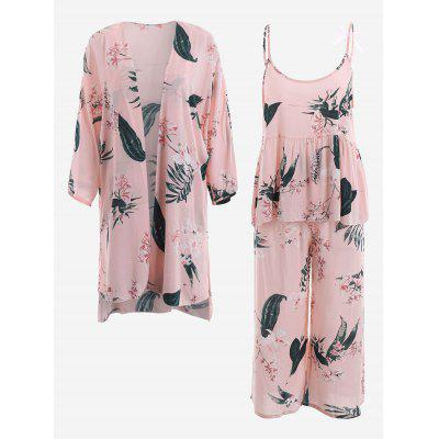 Buy PINK XL Lily Print Kimono And Cami Top And Pants Pajamas Suit for $39.01 in GearBest store