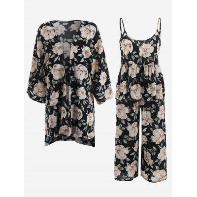 Buy BLACK XL Peony Print Kimono And Cami Top And Pants Pajamas Suit for $38.73 in GearBest store