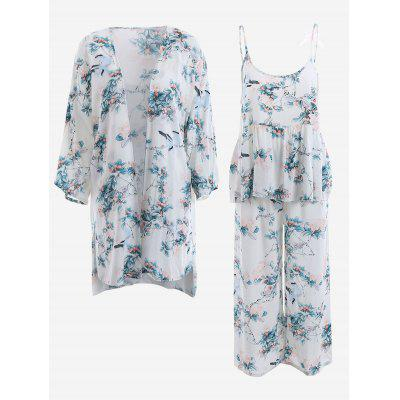 Buy WHITE M Chinese Painting Kimono And Cami Top And Pants Pajamas Suit for $39.01 in GearBest store