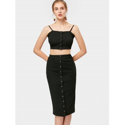 Buy BLACK S Knitted Cropped Tank Top and Midi Sheath Skirt for $26.22 in GearBest store