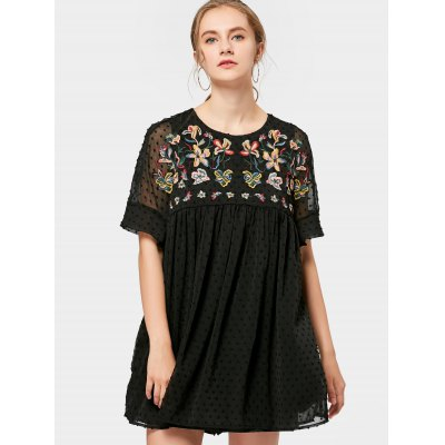 Applique Floral Embroidery Tunic Dress