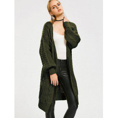 Cable Knit Loose Open Front Cardigan