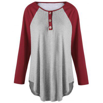 Plus Size Two Tone Raglan Sleeve T-shirt with Buttons