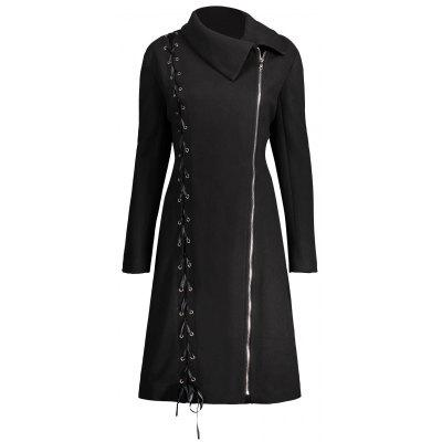 Lace Up Plus Size Zip Up Coat
