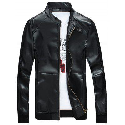 Casual Zipper Up Faux Leather Bomber Jacket