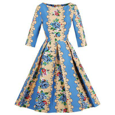 Retro Floral Print Fit and Flare Dress