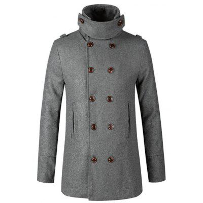 Stand Collar Double Breasted Slim Fit Woll Peacoat