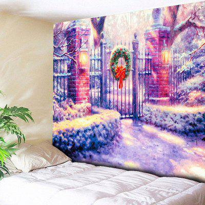 Christmas Courtyard Door Print Wall Tapestry
