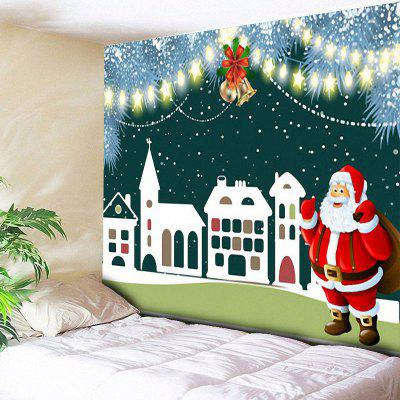 Santa Claus Christmas Bell Building Wall Tapestry
