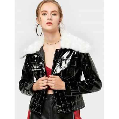 Button Up Fur Collar Shiny Cropped Jacket