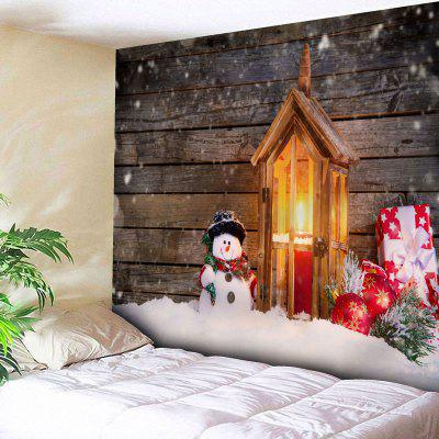 Christmas Snowman Candle Wood Wall Tapestry