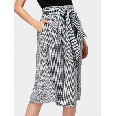 Checked Belted Midi A Line Skirt