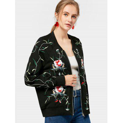 Floral Embroidered Zip Up Loose Jacket
