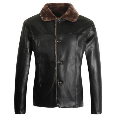 Button Up Borg Collar PU Leather Jacket