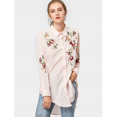 High Low Floral Embroidered Long Shirt