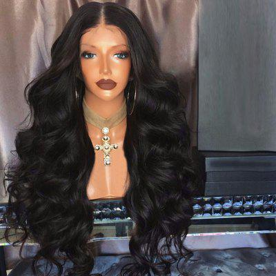 Long Part Middle Piggy Loose Wave Sintético Lace Front Wig