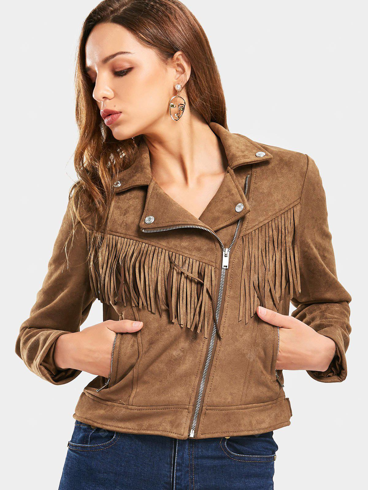 Fringed Faux Suede Zip Up Cropped Jacket