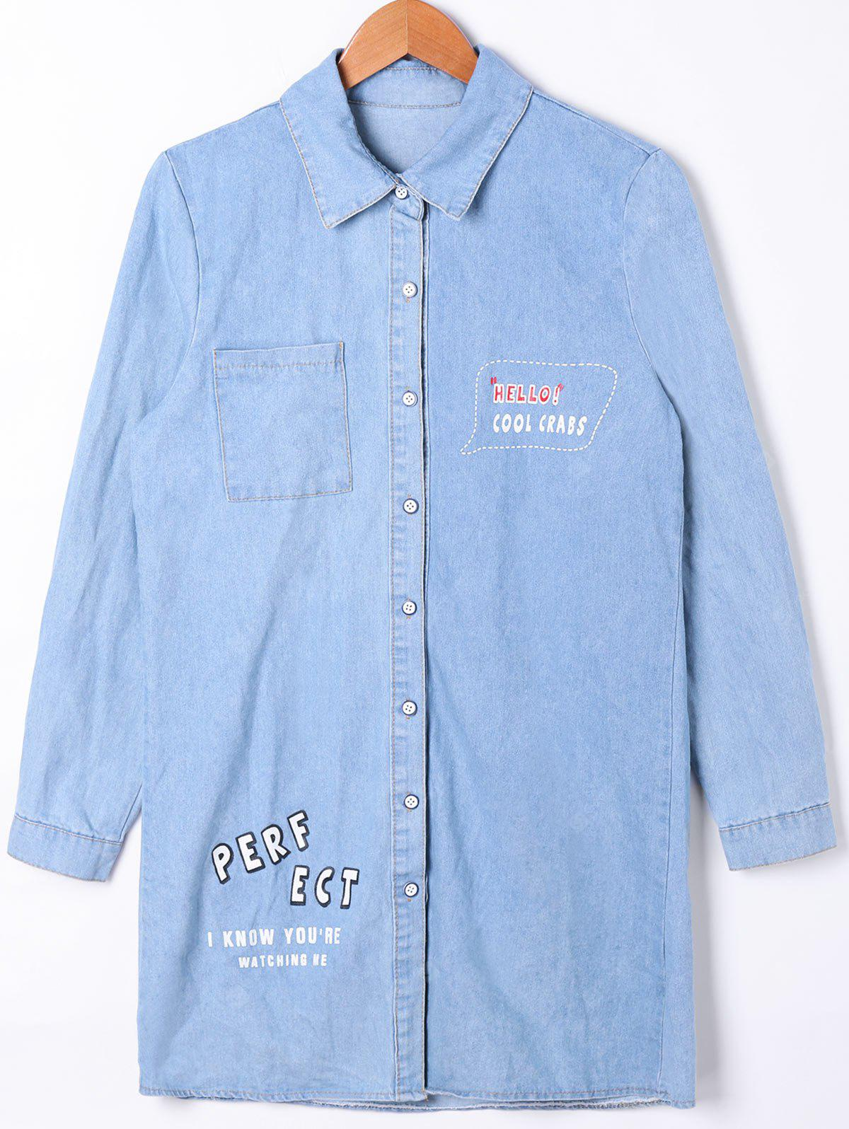 LIGHT BLUE L Patch Pocket Button Up Denim Shirt Coat