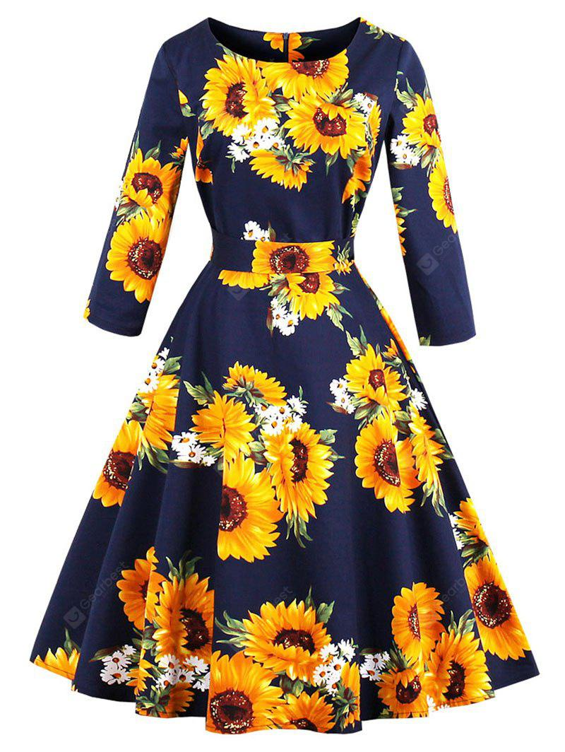 Vintage Sunflower Print Fit and Flare Swing Dress