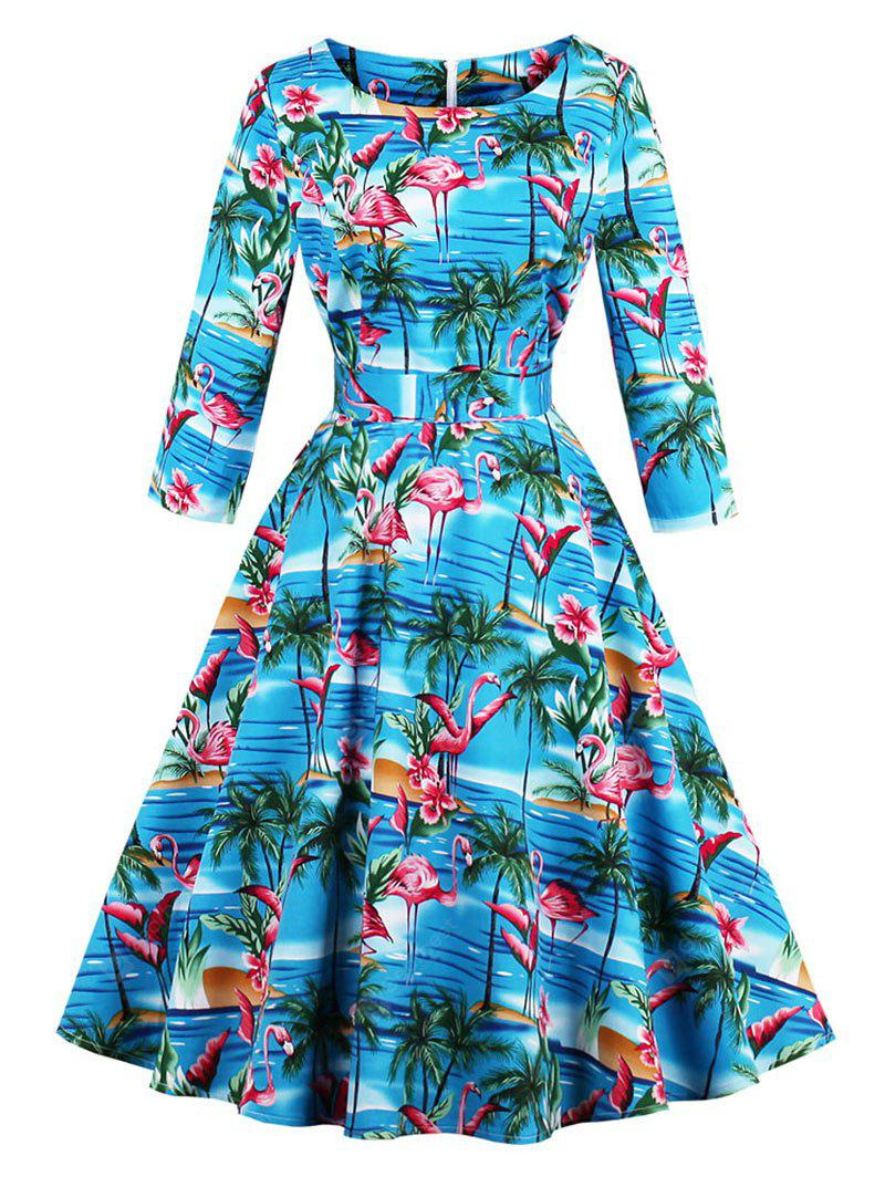 Vintage Flamingo Print Fit and Flare Dress