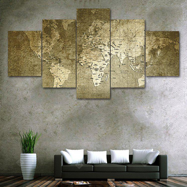 Retro World Map Print Unframed Canvas Split Paintings