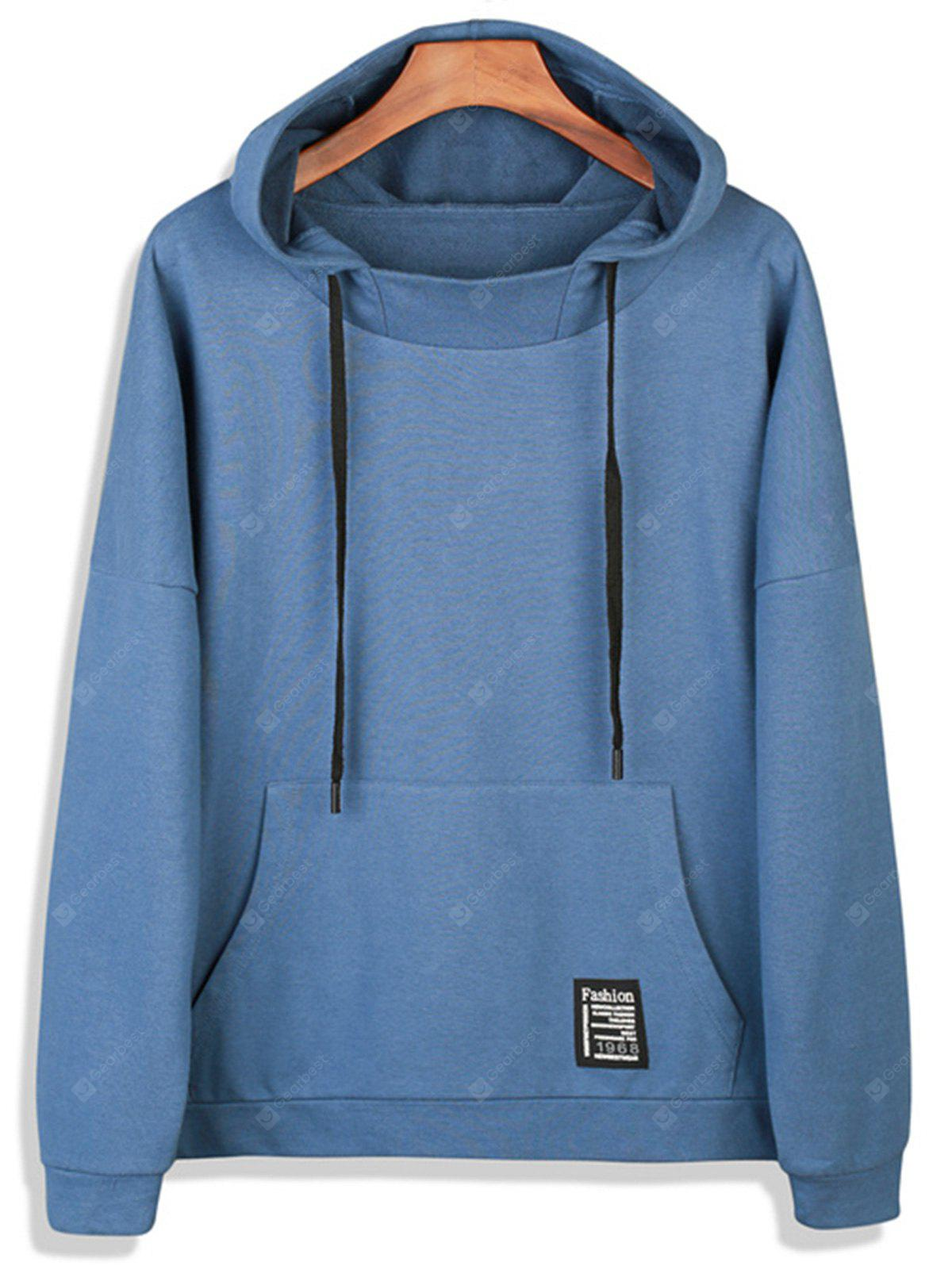 Drop Shoulder Graphic Print Pocket Pullover Hoodie
