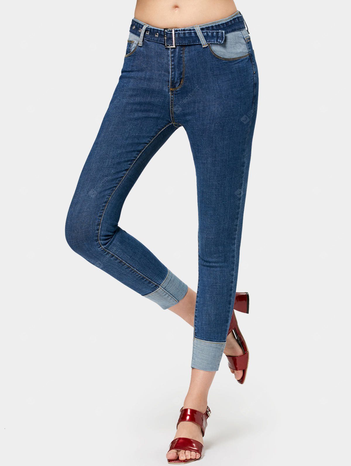 Contrasting Belted Skinny Pencil Jeans