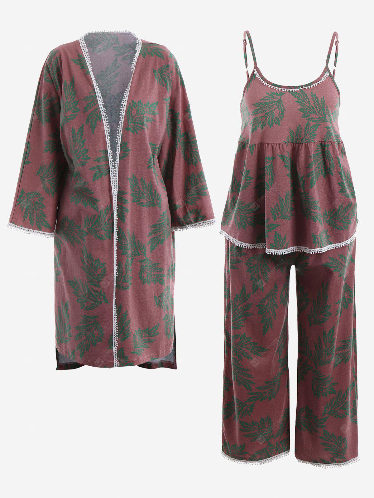 RUSSET-RED XL Leaf Print Kimono And Cami Top And Pants Pajamas Suit