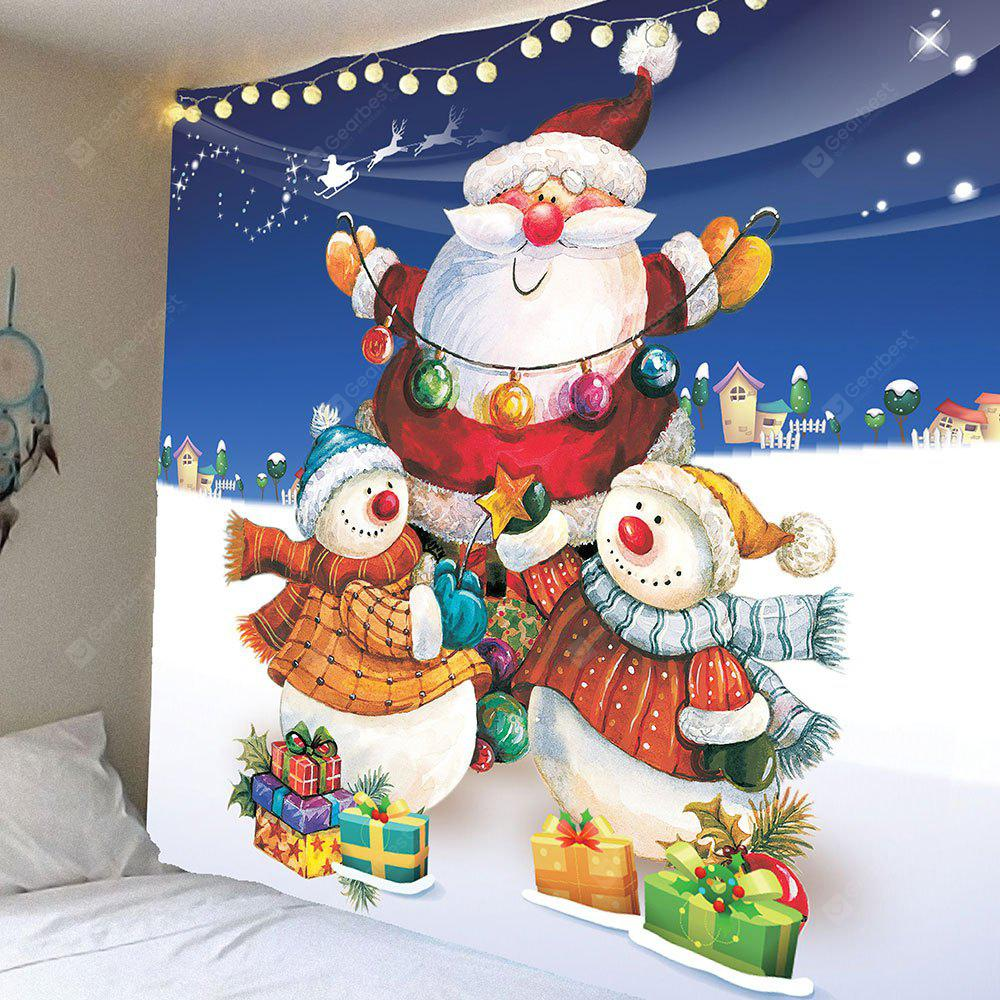Christmas Snowman and Santa Claus Pattern Waterproof Wall Tapestry