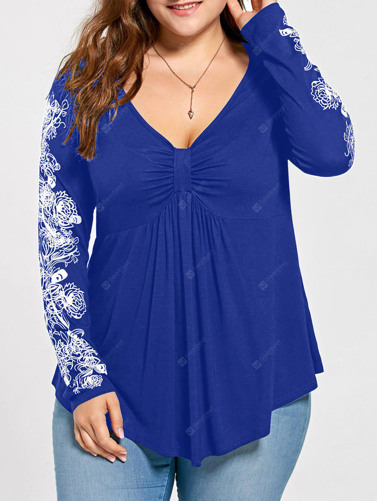 Plus Size Floral Pattern Long Sleeve Draped T-shirt