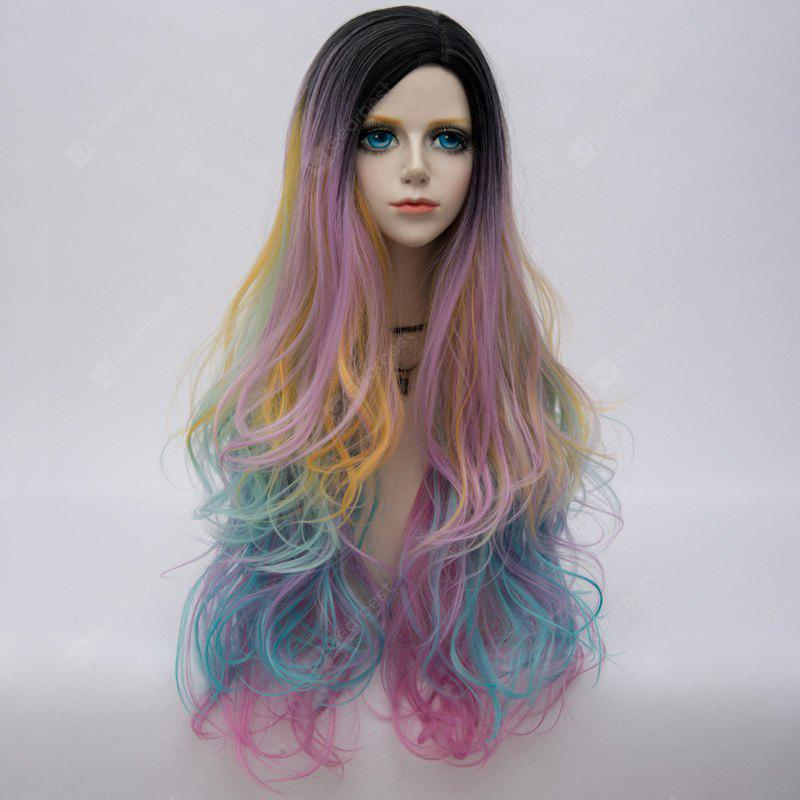 Long Side Parting Shaggy Layered Wavy Colormix Synthetic Party Wig