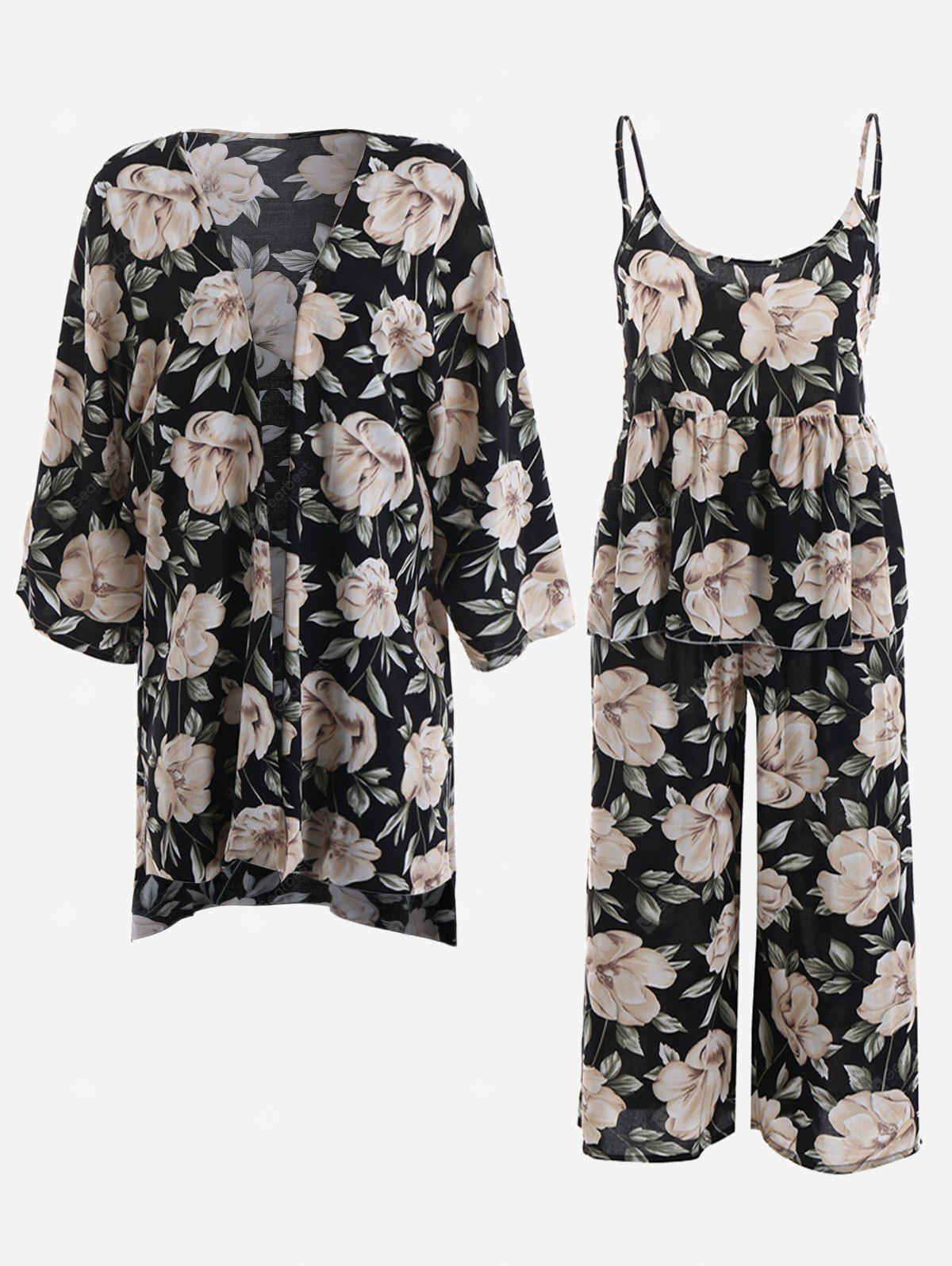 Peony Print Kimono And Cami Top and Pants Pajamas Suit