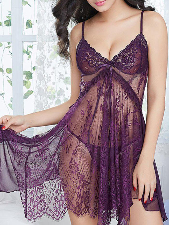 Lace See Through Slit Cami Babydoll