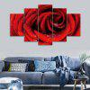 Rose Flower Print Unframed Canvas Split Paintings - RED