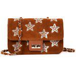 Embroidery Star Chain Crossbody Bag - BROWN
