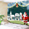 Santa Claus Christmas Bell Building Wall Tapestry - DEEP GREEN
