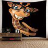 Giraffe Wearing Glasses Print Wall Tapestry - BLACK