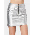 Half Zip Shiny Faux Leather Mini Skirt - SILVER