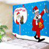 Letter Print Wall Decor Santa Claus Tapestry - BLUE