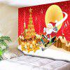 Santa Sleigh Christmas Tree Town Wall Tapestry - RED
