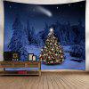 Christmas Tree Snow Night Wall Tapestry - VIOLET BLUE