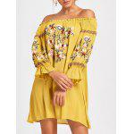Embroidery Off The Shoulder Dress - YELLOW