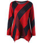 Color Block Skew Striped Long Sweater - RED