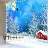 Snows and Trees Pattern Waterproof Christmas Wall Hanging Tapestry - COLORFUL