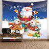 Christmas Snowman and Santa Claus Pattern Waterproof Wall Tapestry - COLORFUL